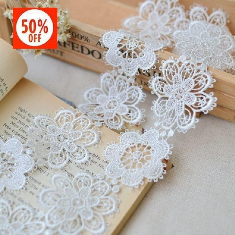 Gran oferta 6cm flor doble alto encaje soluble bordado encaje DIY material manual de alta calidad