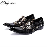 deification stylish style mens dress shoes chaussure homme colors printed man shoes metal toe business formal party dress shoes