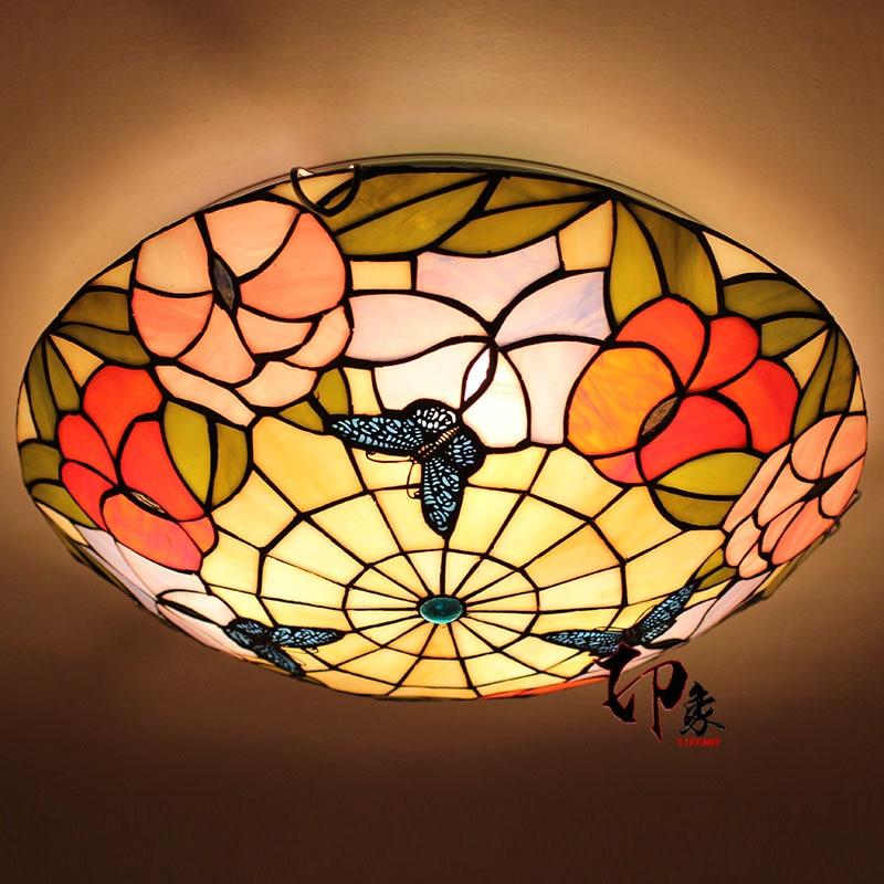 Borboleta europeia 16 polegada led e27 110-240 v luz de teto pastoral tiffany vidro redondo abajur lamparas de techo abajur