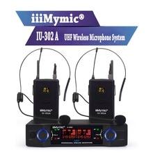 IiiMymic IU-302A UHF 600-700MHz Pro Microphone sans fil double canal 2 Bodypack + 2 revers et 2 système de micro casque pour DJ karaoké