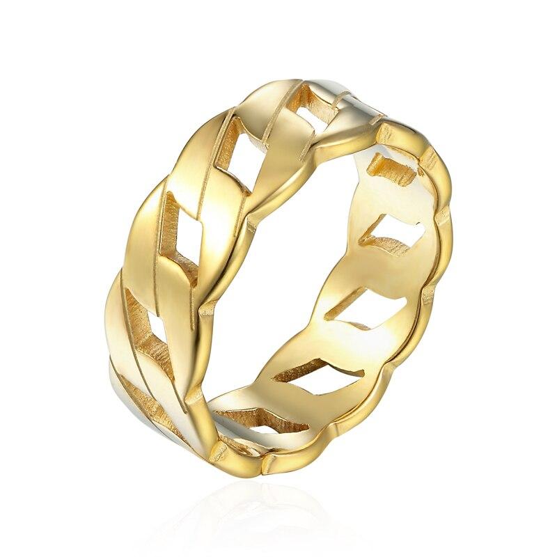¡Venta al por mayor! ¡diseño único! anillo de acero inoxidable con diseño de conexión ilimitada con cabeza de llave para mujer en 3 colores