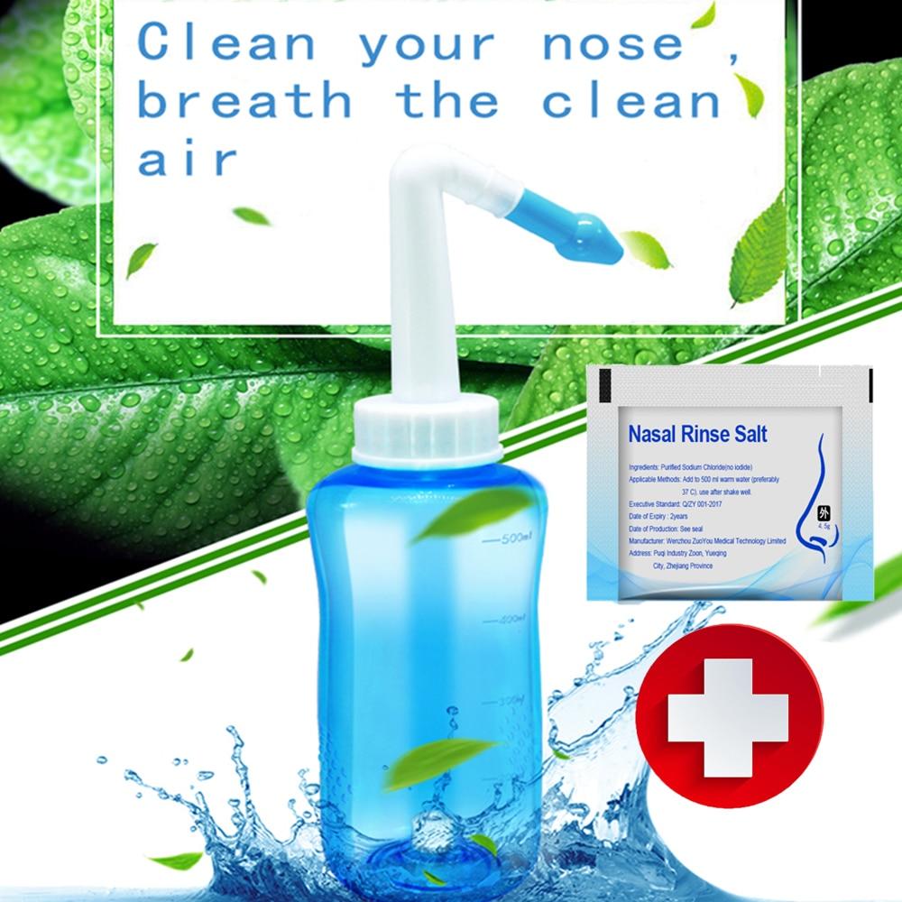 300ml 500ml nasal nariz lavado limpiador nariz limpieza olla Protector limpia humedece niño adulto evitar rinitis alérgica irrigador
