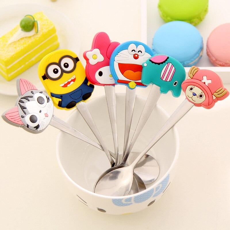 Cuchara de silicona Kawaii con personajes de dibujos animados Minions, cuchara de acero inoxidable para niños, cuchara para sopa, café, té, cuchara, vajilla