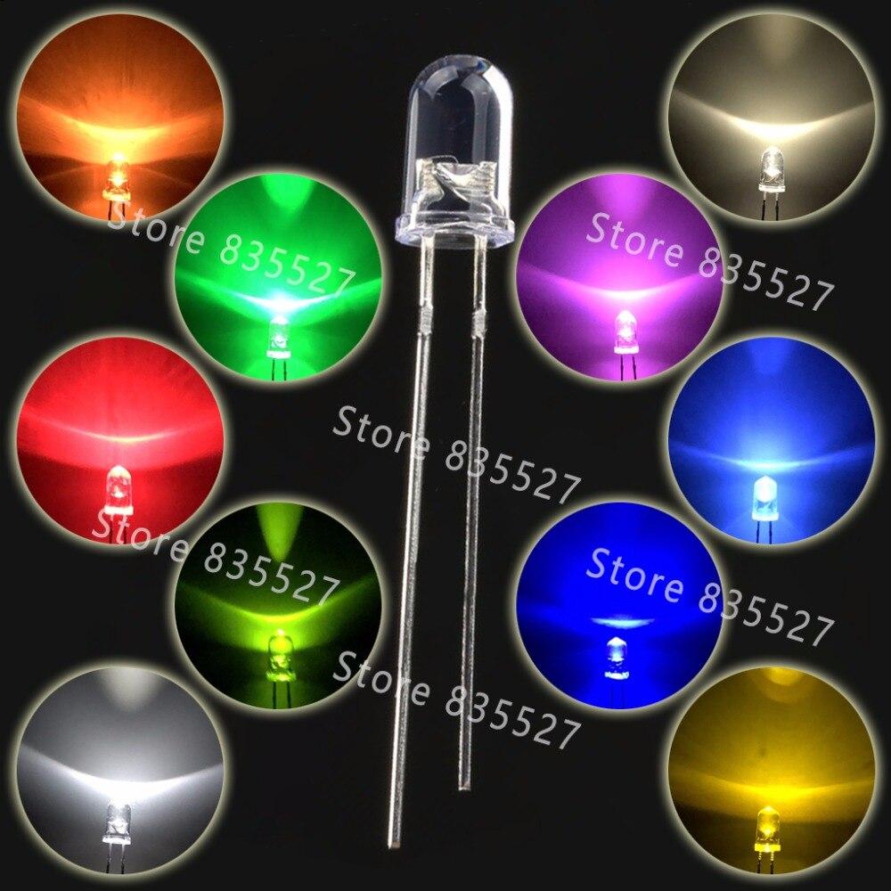 Набор круглых светодиодных ламп F5, 5 мм, 100 шт., 10 цветов теплый белый, красный, зеленый, синий, розовый, фиолетовый, УФ, оранжевый, желтый, набор...