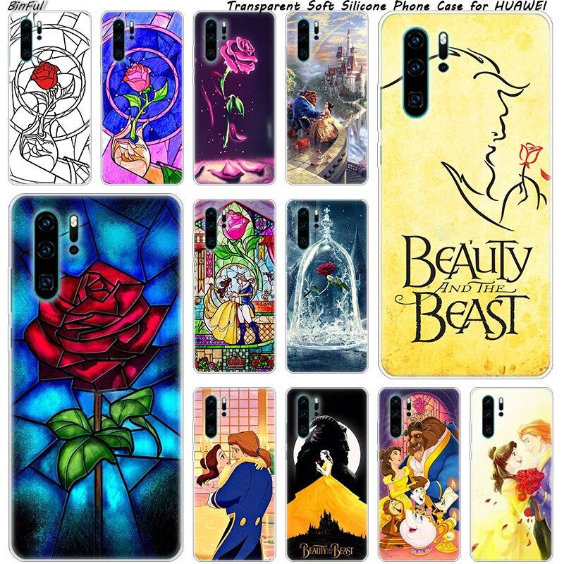 Hot Beleza Besta Rose Princesa Caso de Telefone Silicone Macio para Huawei P30 P20 Pro P10 P9 P8 Lite 2017 P Z inteligente Plus 2019 NOVA 3 3i