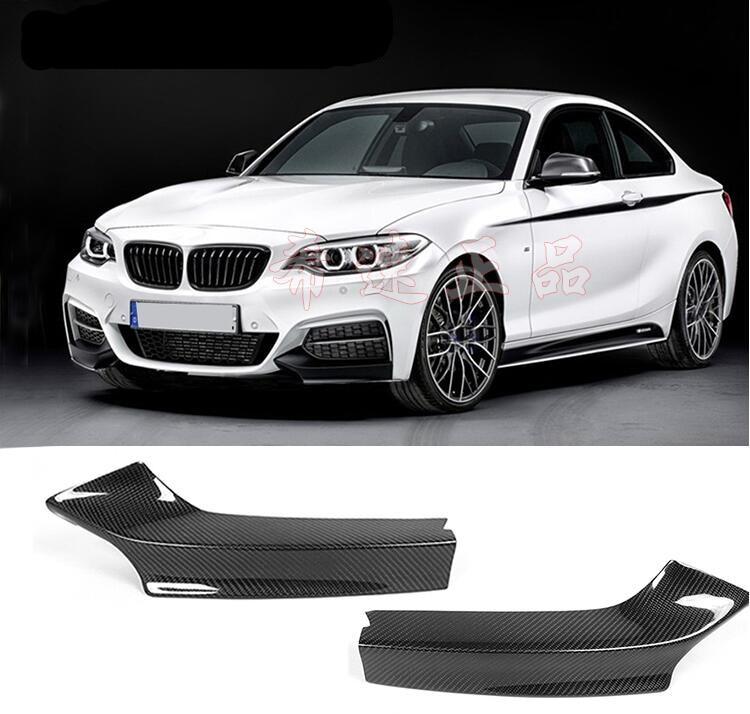 Fibra de carbono coche labio delantero divisores parachoques delantales taza alas alerones para BMW Serie 2 M235i M240i F22 M 2014-2018