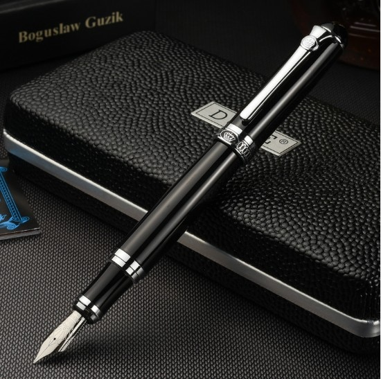 AliExpress - Luxury Gift Pen Set Duke d2 Smooth Black Metal Fountain Pen 0.5mm Iridium Nib Ink Pens for Writing School Supplies Free Shipping