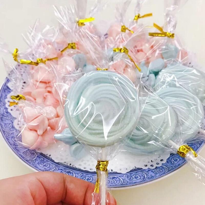 100 sacos de plástico pequenos planos transparentes dos pces doces biscoitos do pirulito que empacotam o saco do celofane decorações da festa de casamento sacos de presente-