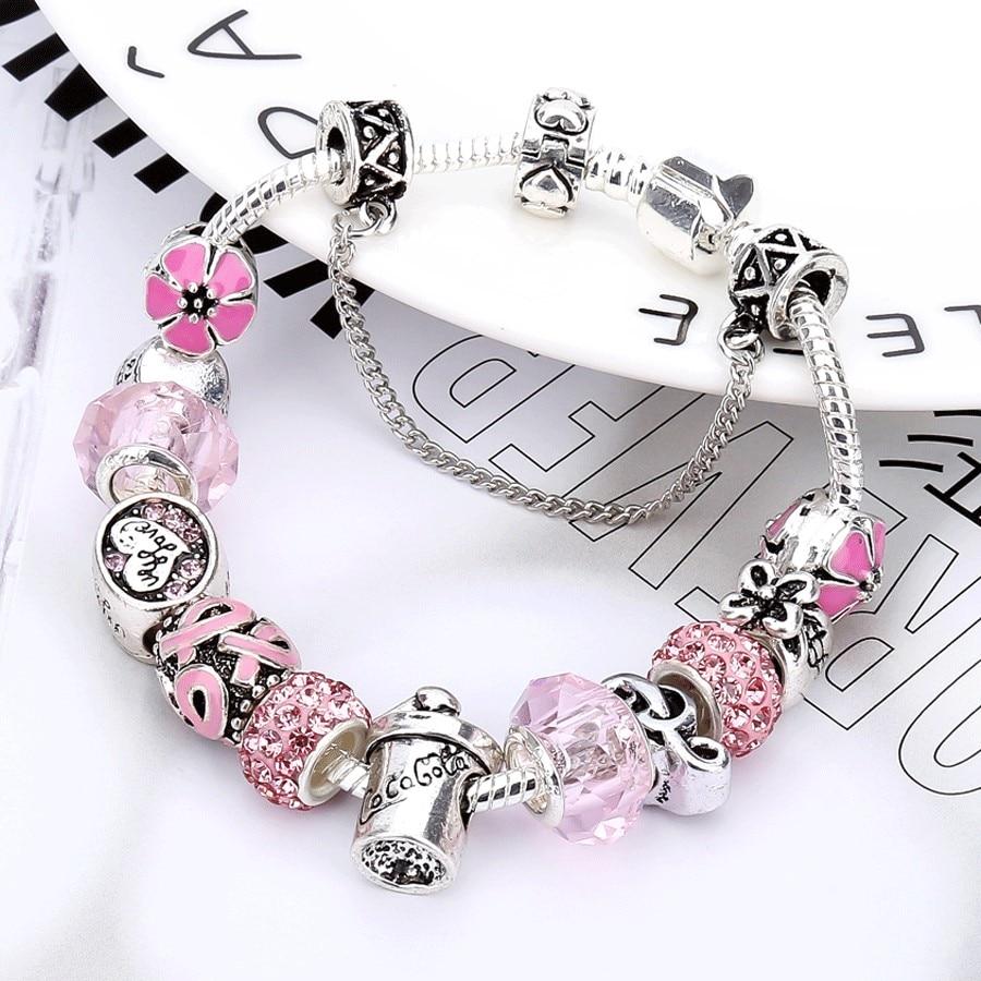 Beiver rosa cristal prata cor pulseiras & pulseiras para mulher com contas diy cola garrafa pulseira feminino jóias 2019 novo cz027