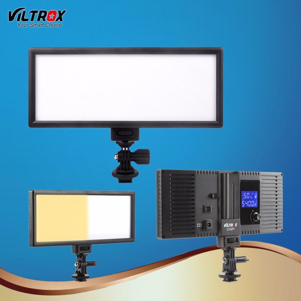 Viltrox l132t led luz de vídeo ultra fino lcd bi-color & pode ser escurecido dslr studio conduziu o painel da lâmpada de luz para a fotografia da câmera