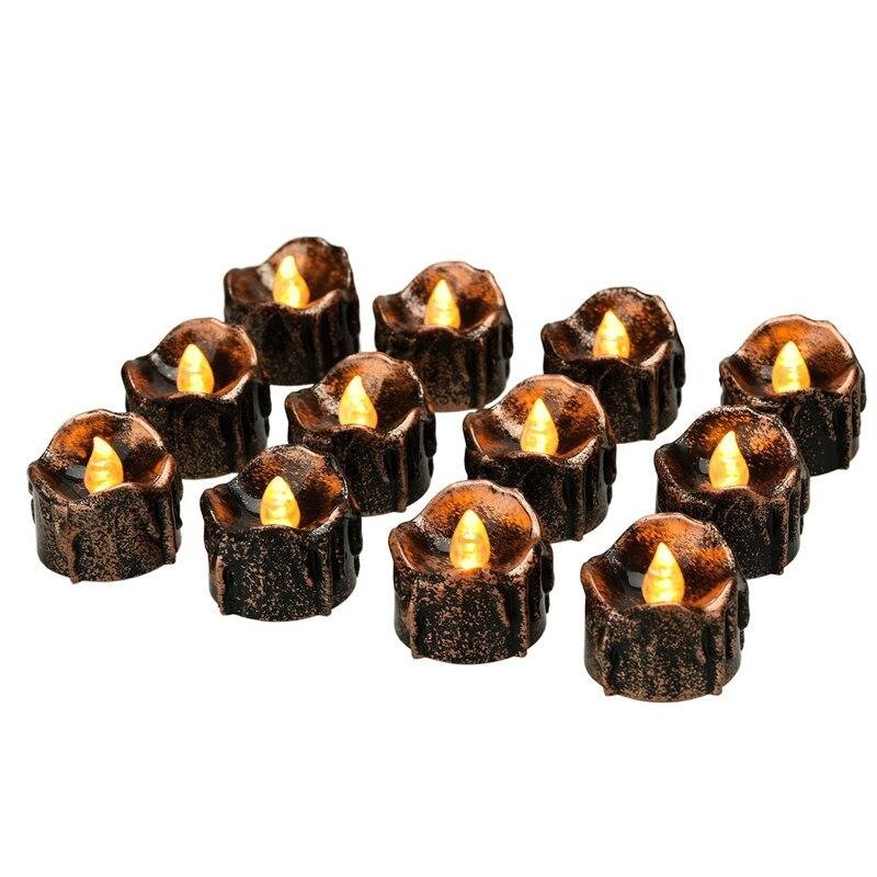 Halloween velas de decoración luces de té, funciona con batería, parpadeante sin llama [12 paquetes]