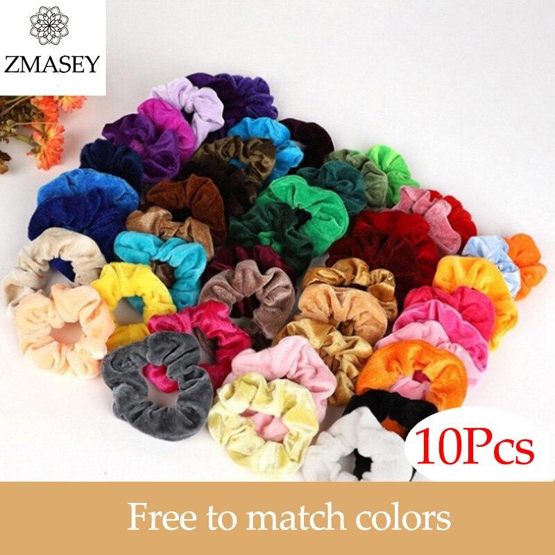 Lote de 10 unidades de accesorios bandas de goma elásticas para el cabello ZMASEY de 45 colores (se puede elegir) para atar el pelo