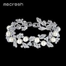 Mecresh simulé perle de mariée Bracelets pour femme couleur argent cristal amitié Bracelets et Bracelets bijoux de mariage SL089