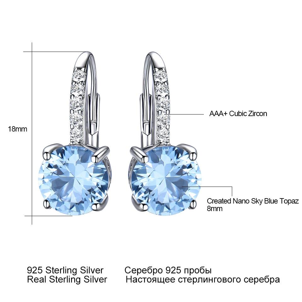 UMCHO Real 925 Sterling Silver Clip Earrings For Women Gemstone Sky Blue Topaz Female Earrings Round Wedding Valentine's Jewelry