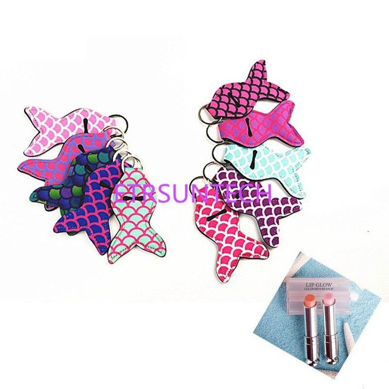 Funda de lápiz labial de 8 colores con llavero de colores con cola de sirena