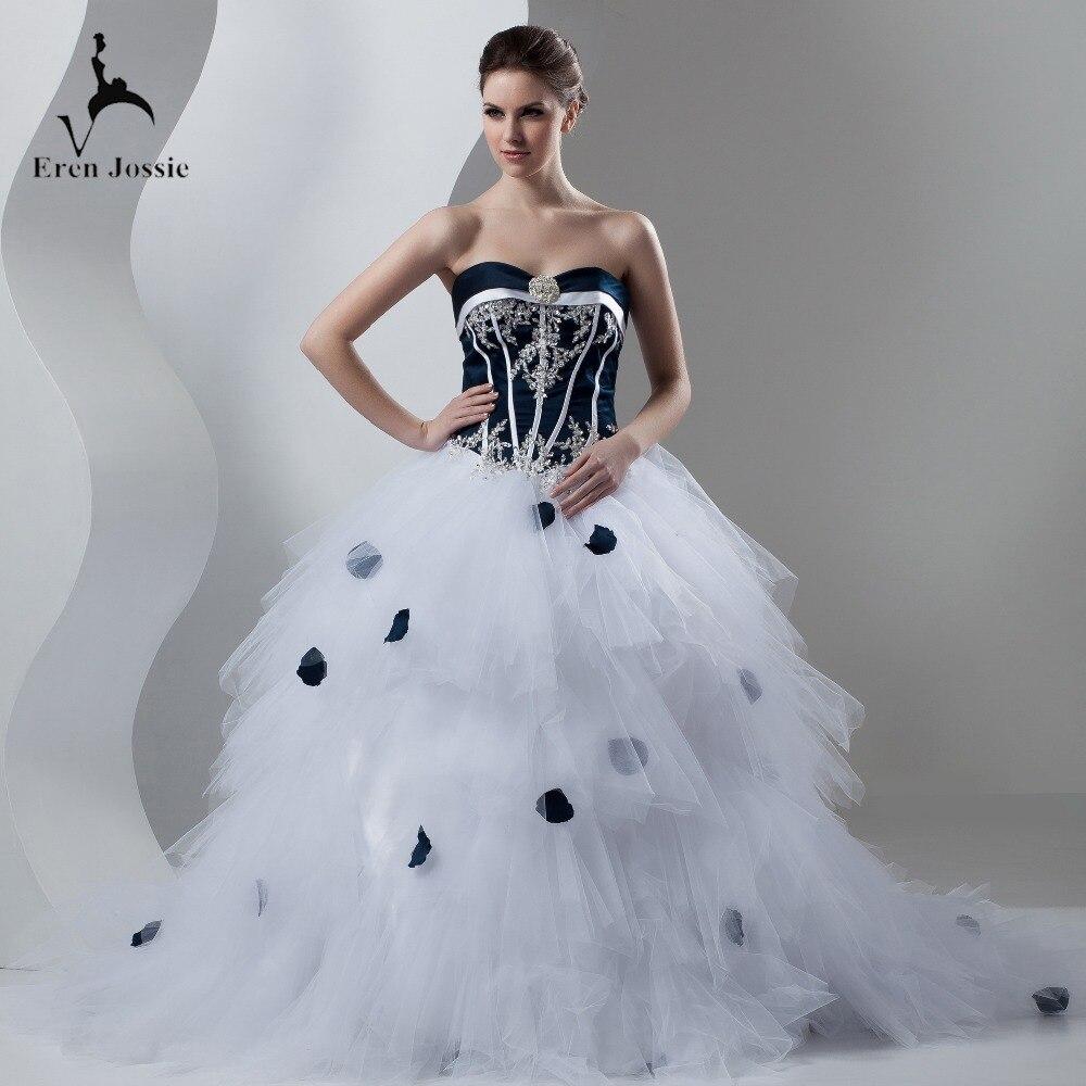 Eren Jossie hermoso Sweetheart tul blanco satén negro traje de boda para mujer corte de tren con pétalos en la falda