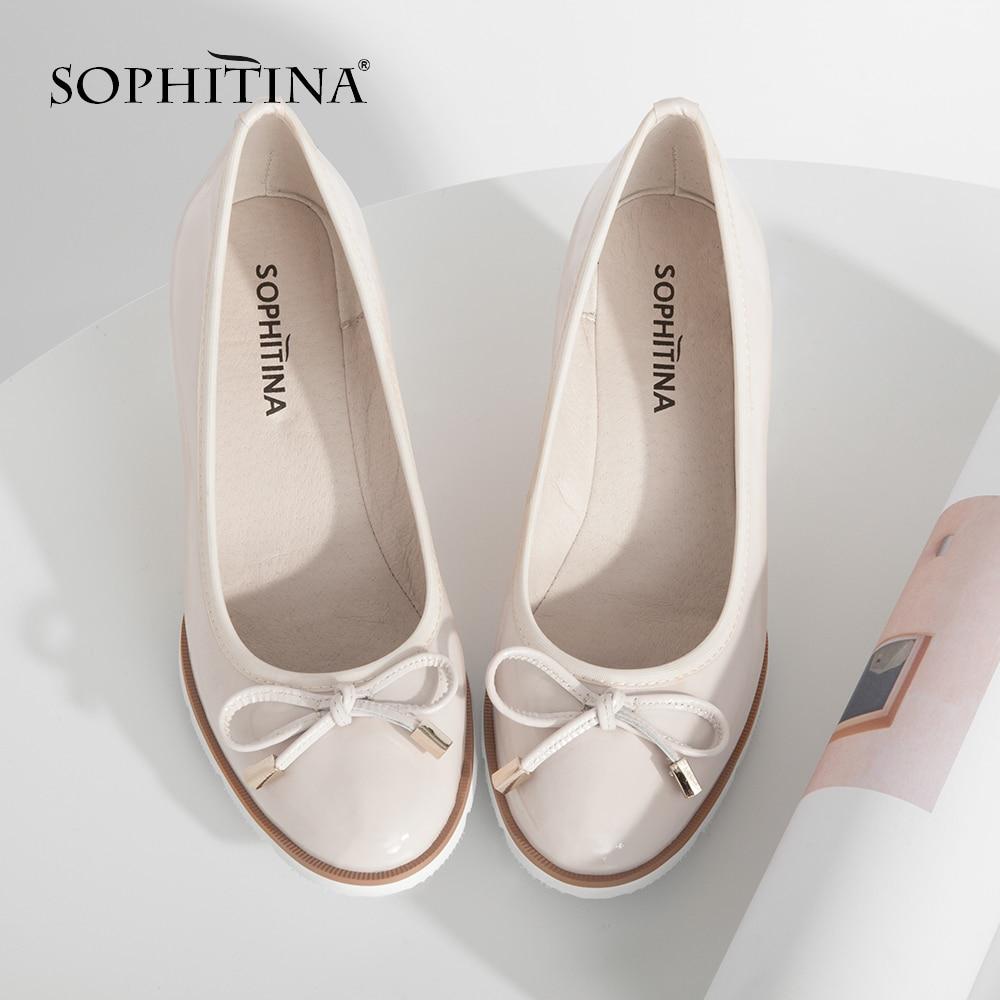 Foitina-حذاء نسائي بكعب ويدج ، حذاء كاجوال مريح بدون أربطة ، جلد طبيعي ، مقدمة مستديرة ، صناعة يدوية ، W22