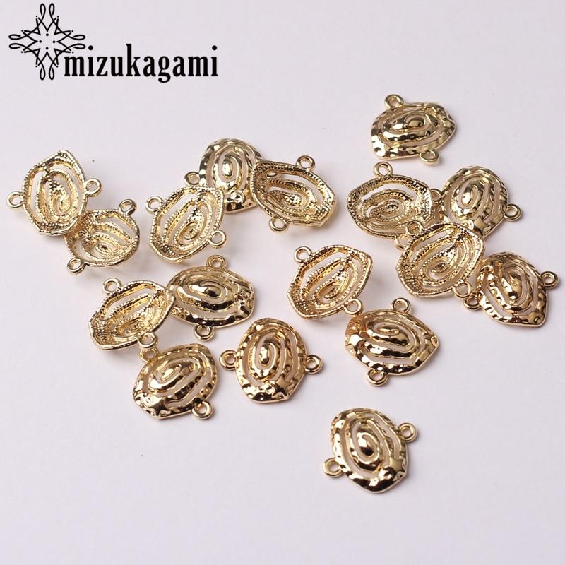 Liga de zinco de Ouro 3D Hélice Espiral Oval Conector Pingentes Encantos 10*13mm 10 pçs/lote Para DIY Colar de Jóias fazer Acessórios