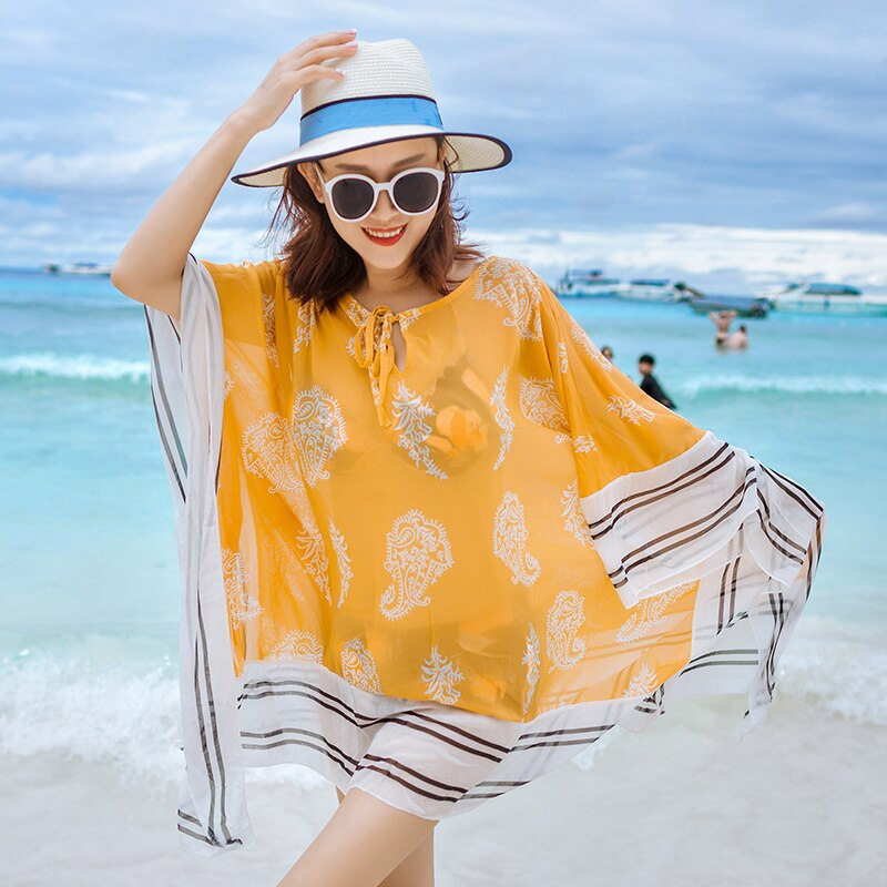 Chiffon Beach Coats Clothes Swimsuits outside Bikini blouses Sun protection clothing women's long section Beach seaside holiday enlarge
