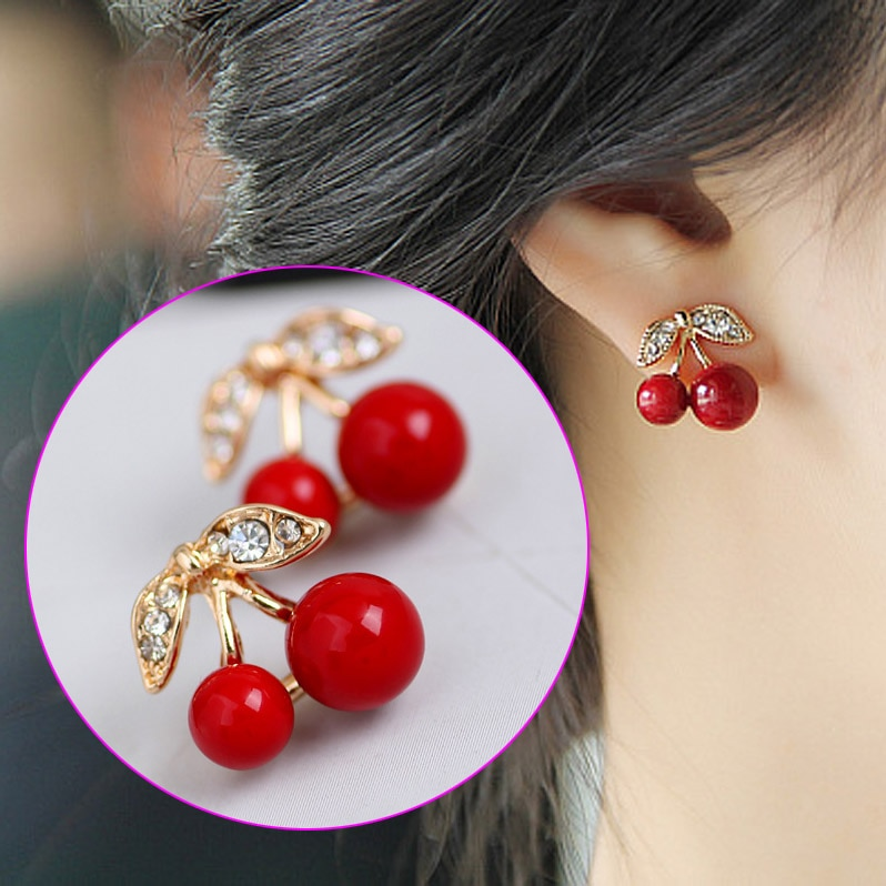 Women Cute Red Cherry Earrings High-end production of zinc alloy material Crystal Stud Earrings LXH