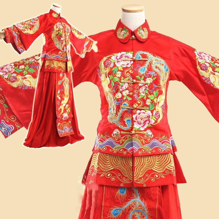 Chinesische Traditionelle Hochzeit Hanfu Braut Kleid Zarte Stickerei Xiu Er Fu Republikaner Zeitraum Hochzeit Hanfu Kostüm