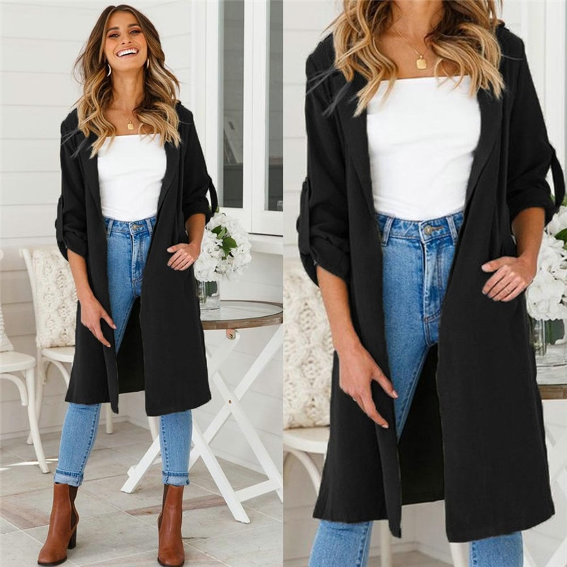 Women Open Front 3/4 Sleeves Lapel Cardigan Trench Autumn Ladies Casual Loose Long Coat Outwear Army Green Orange Black