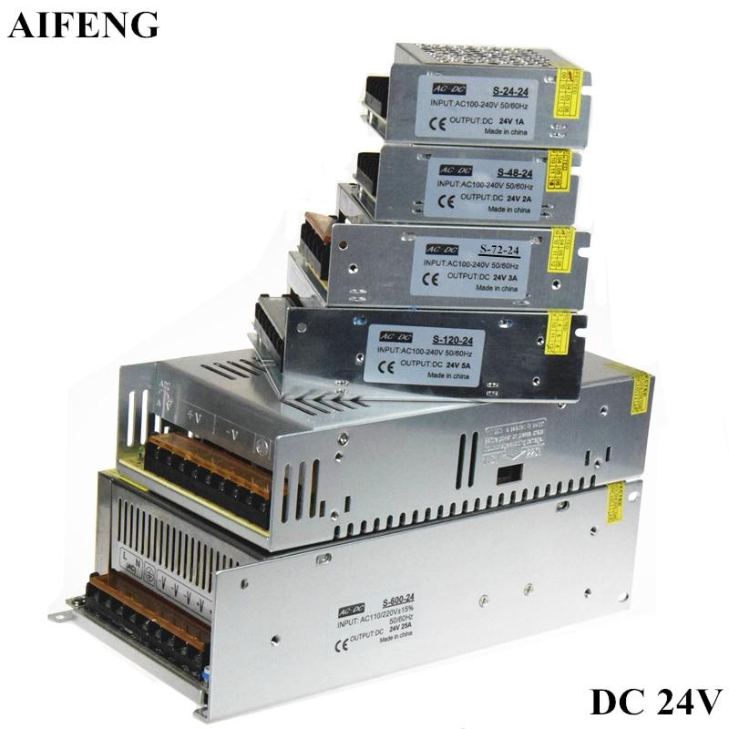 Aifeng que ilumina o transformador 1a 2a 3a 5a 15a 25a ac 110 v 220 v a dc24v conduziu o adaptador da fonte de alimentação do interruptor do motorista para a luz de tira conduzida