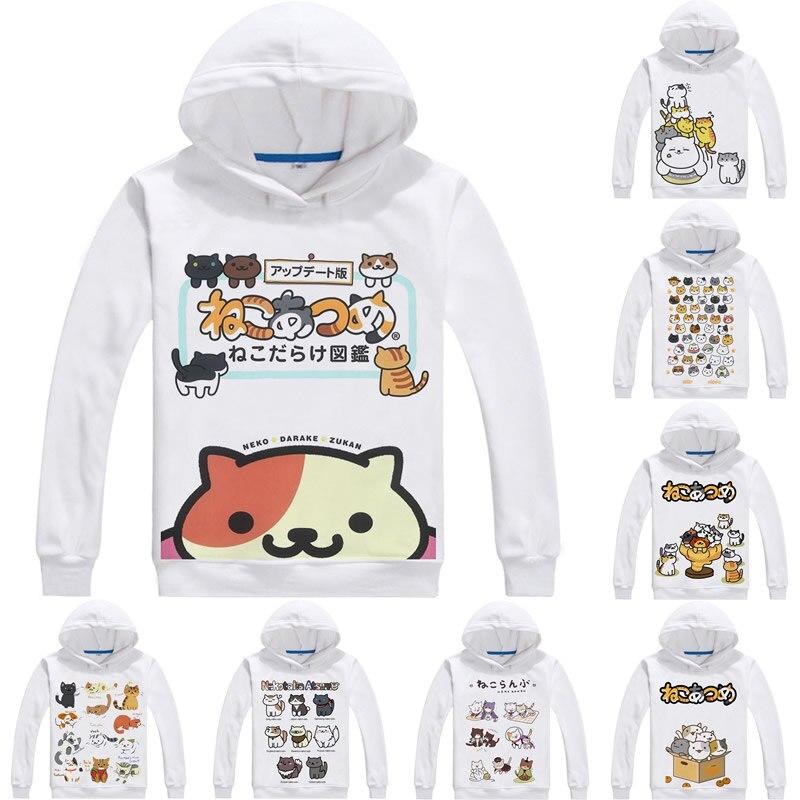 Neko Atsume Kitty Collector 3D sudadera hip hop de hombre de manga larga con capucha colección de gato Cosplay Anime sudaderas mujeres