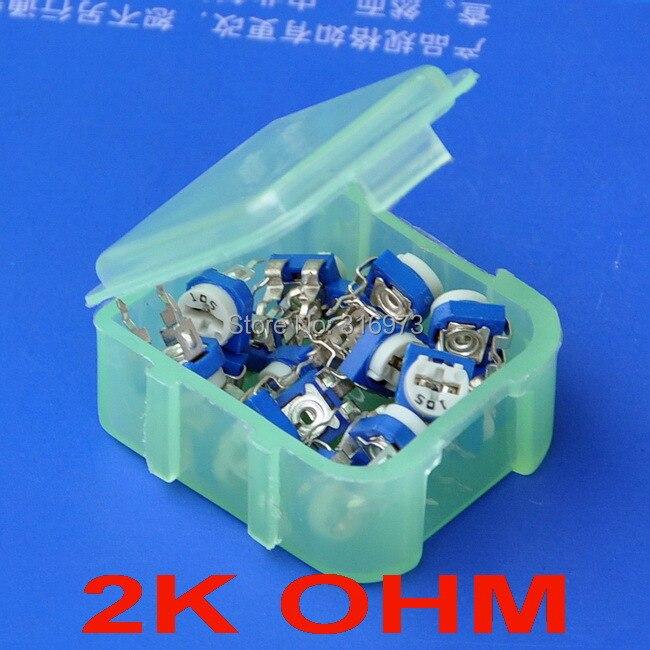 (20 pcs/lot) 2K OHM  Top-adjust Carbon Composition Single-turn Trimmer Potentiometer.