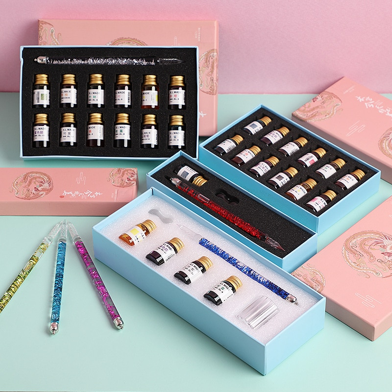 JUGAL Creative papelería Quicksand pluma de vidrio pluma de tinta colorida conjunto con caja de regalo pluma agradable caligráfica pluma estilográfica suministros de arte