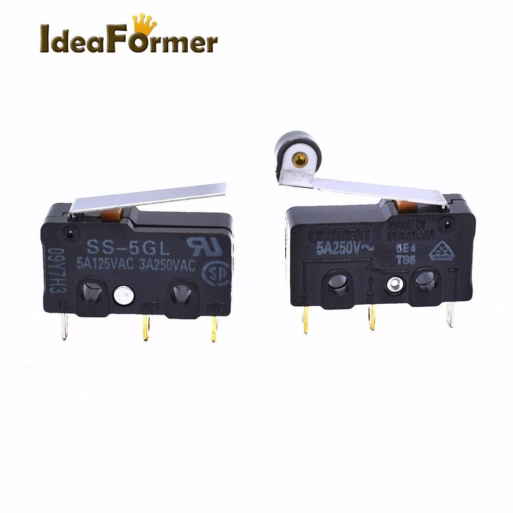2 stücke 3D Drucker Ultimaker Grenze Micro Switch OMRON SS-5GL/5GL2 5A 125 V 1.47N Maus Taste Fressen Teil kupfer Zubehör