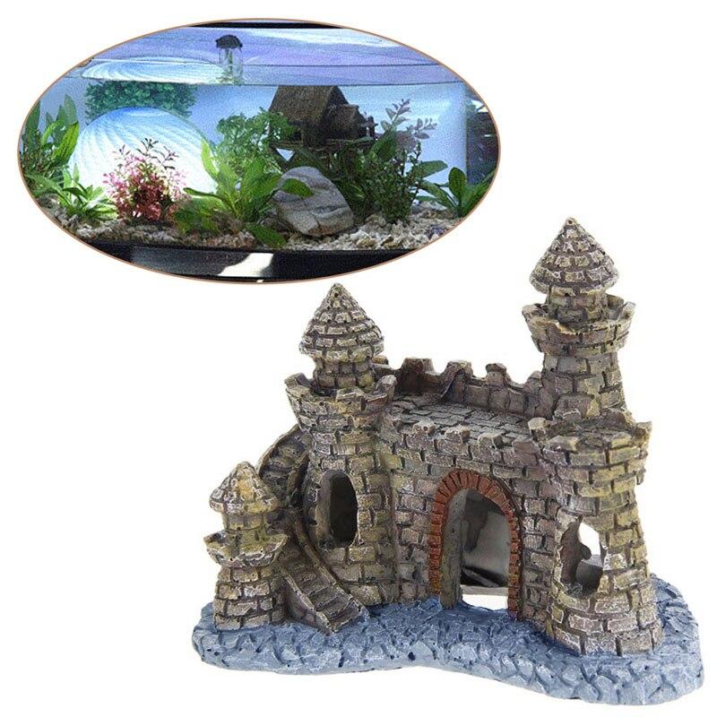 Полистоуна замок башня аквариум орнамент аквариум украшения аксессуары