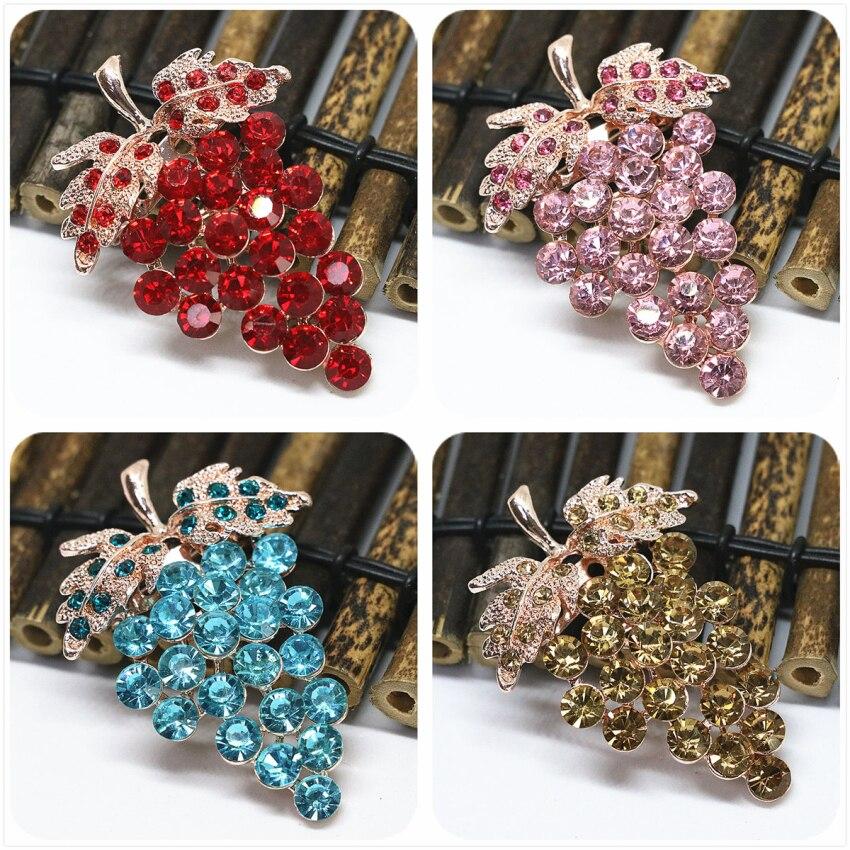 Gran oferta precio al por mayor lindo estrás de cristal multicolor fruta uva broche pins para mujeres color oro rosa joyería 38*55mm K