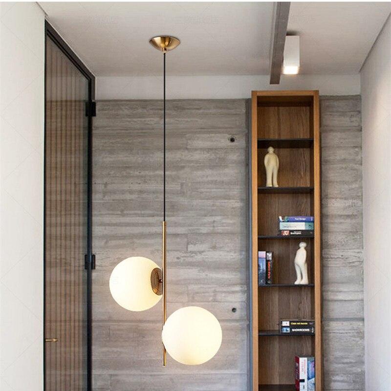 مصباح معلق من المعدن الذهبي على الطراز الاسكندنافي ، كرة زجاجية مزدوجة حليبية ، مصباح فني لغرفة الطعام ، مقهى/بار/غرفة نوم ، جديد