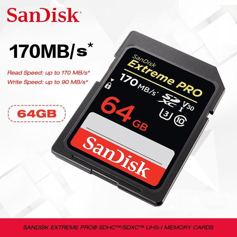 Nueva SanDisk tarjeta SD 128g 256g/SDHC con capacidad de hasta 170 MB/s tarjeta sd 32gb 64gb C10 U3 V30 UHS-I cartao de memoria de tarjeta de memoria Flash para la cámara