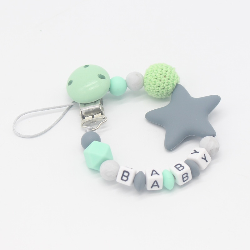 1 Uds nombre personalizado nuevo de silicona clip para chupete bebé chupete Clips gran estrella Cadena de chupete titular