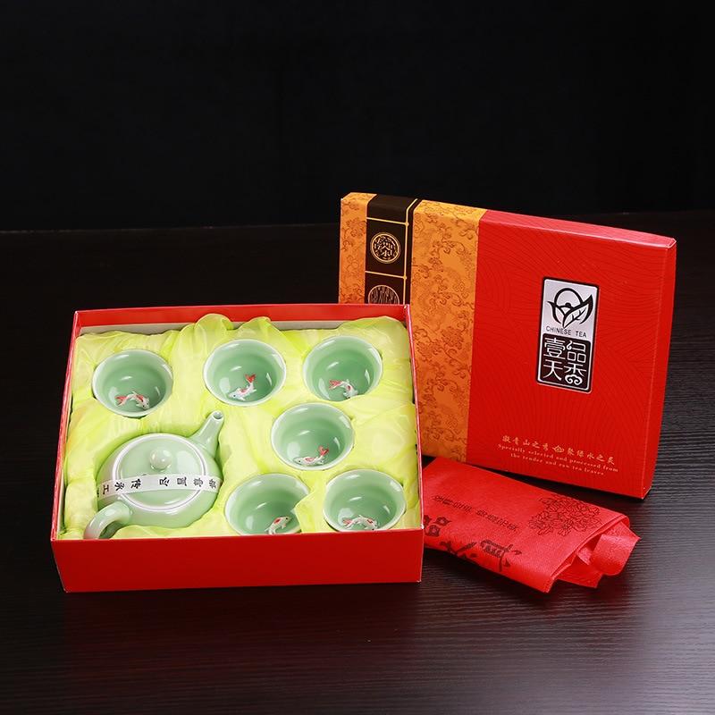 Longquan-طقم شاي على شكل أسماك سيلادون ، إبريق شاي سيراميك ، غلاية شاي سيراميك على شكل أسماك ، طقم شاي صيني من الكونغ فو