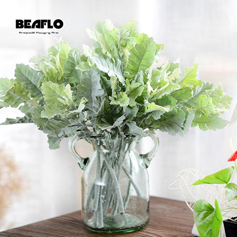Navidad Artificial Planta Artificial hierba flocado astas hoja jardín decoración de la boda accesorios para arreglos florales
