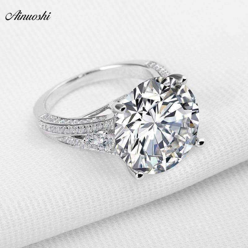 Большое роскошное свадебное кольцо с круглой огранкой Sona из настоящего серебра 925 пробы для женщин помолвки
