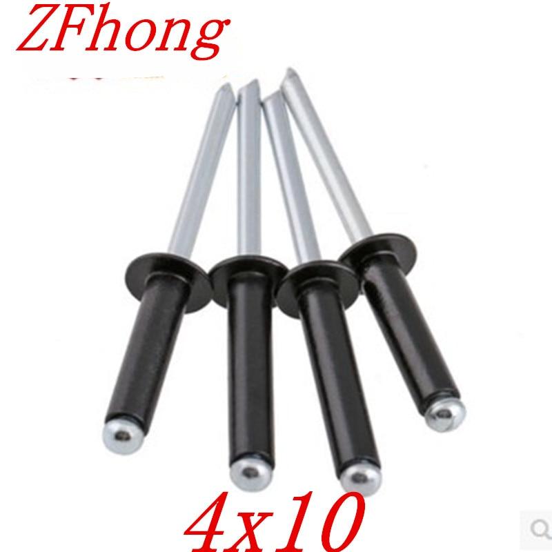 25 stücke 4*10 4mm schwarz aluminium pop niet Dome Kopf Offene Ende