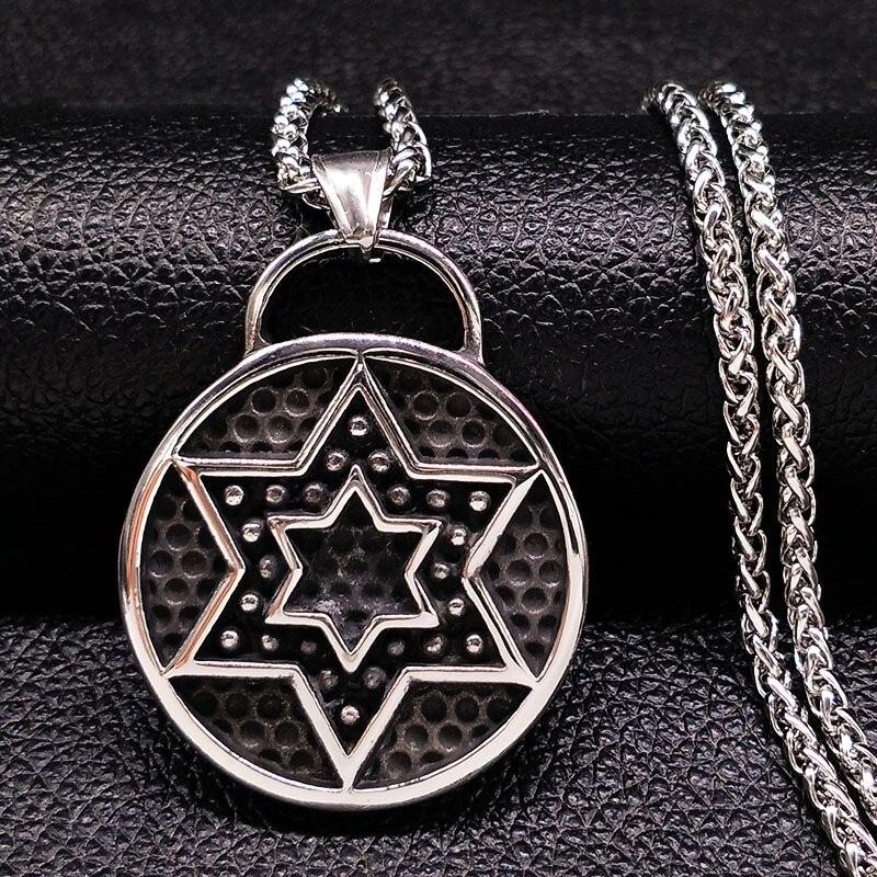 Hexagrama collares y colgantes de acero inoxidable joyería de hombre Color plata gótico collar largo joyas corrajes masculino N17987