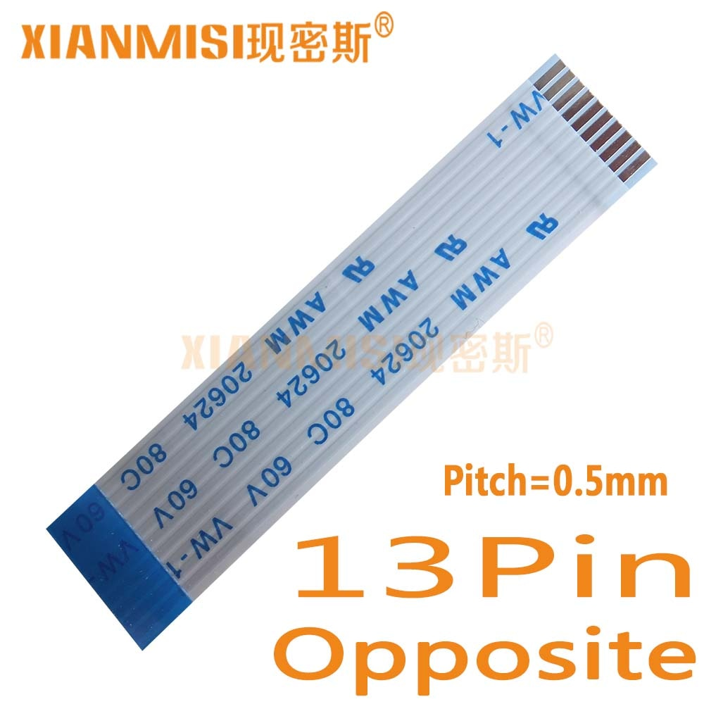 13Pin Lado Oposto 0.5mm Pitch Cabo Liso Flexível FFC AWM 20624 80C 60 V Comprimento 40 cm 45 cm 50 cm 60 cm 80 cm 1 M 2 M 1.5 M 3 M 5 PCS