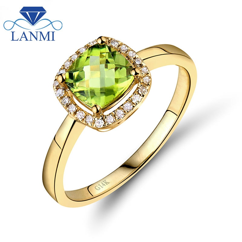 Anillo de compromiso de peridoto Natural, oro amarillo, 14kt, de 6mm, diamante, joyería de regalo para mujeres SR333