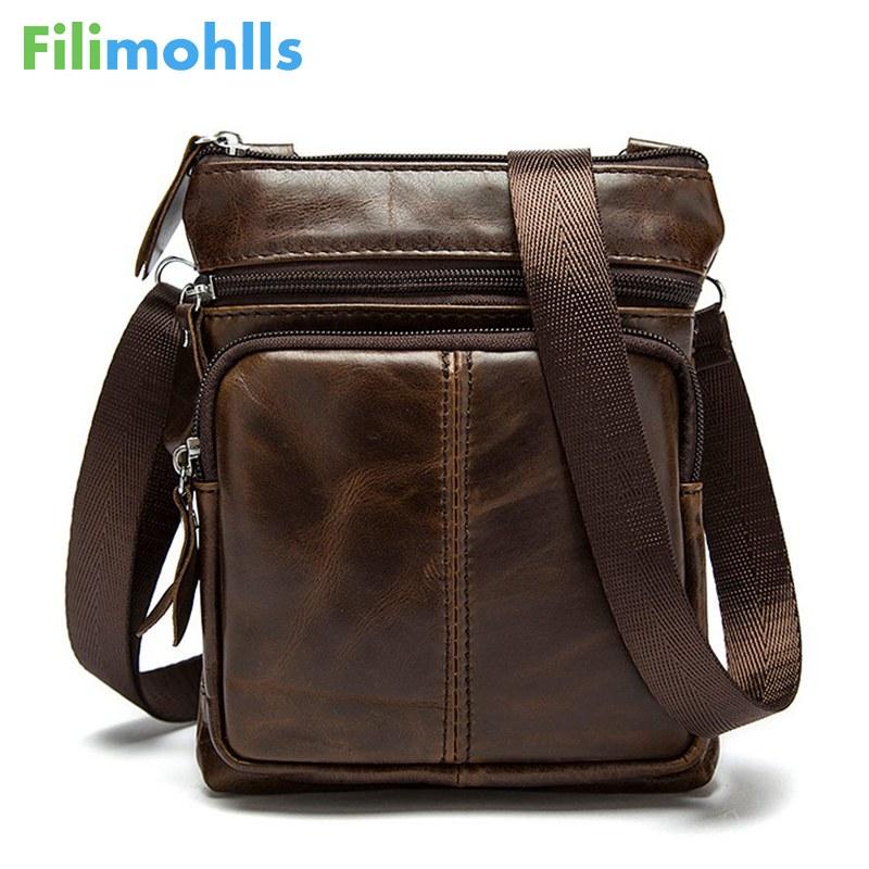 New Casual Leather Men Bag Small Coin Purse Shoulder Bag Vintage Design Zipper Style Messenger Bags Handbags for Men S-224