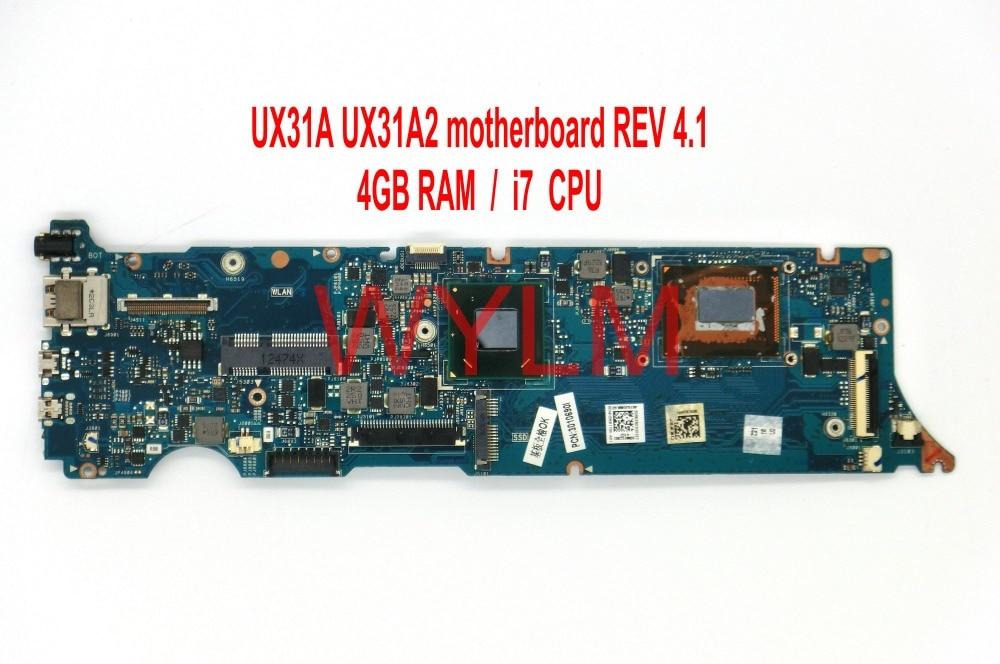 Ux31a2 com i7cpu 4gb ram memória mainboard rev 4.1 para asus ux31a ux31a2 placa-mãe hm76 ddr3 100% testado funcionando bem