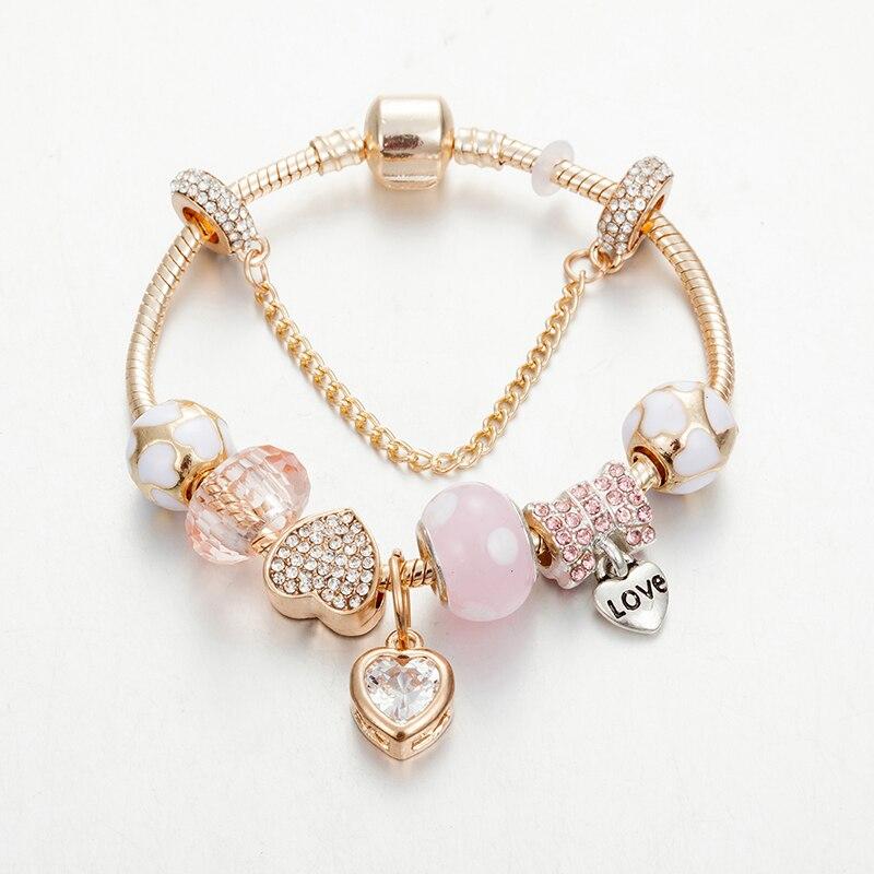 ANNAPAER, abalorios originales de color rosa Brac para la fabricación de joyas, pulsera con colgante de diamantes de imitación para mujer, joyería Diy para boda B18006