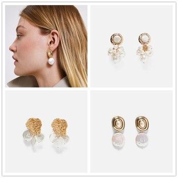 AOTEMAN Fashion round Pearl Flower stud Earrings For Women Wedding Party Girl Geometric Statement Earrings boho ZA Jewelry