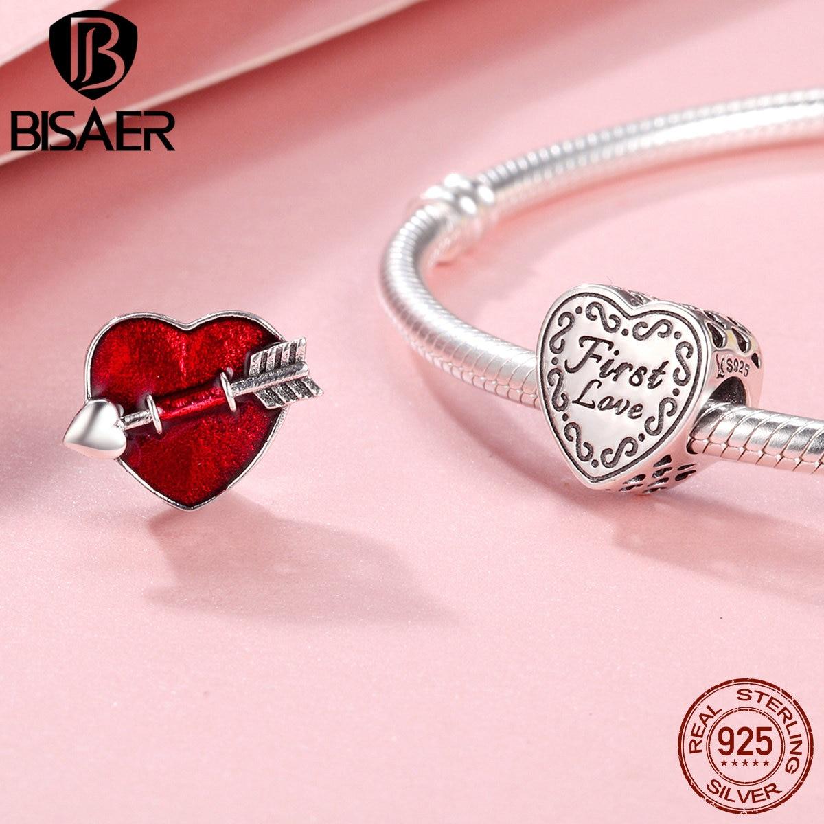100% 925 Sterling Silver Red Love Heart, First Love Arrow Beads Charm Fit Women Bracelet Charms Silver 925 Original Fine Jewelry