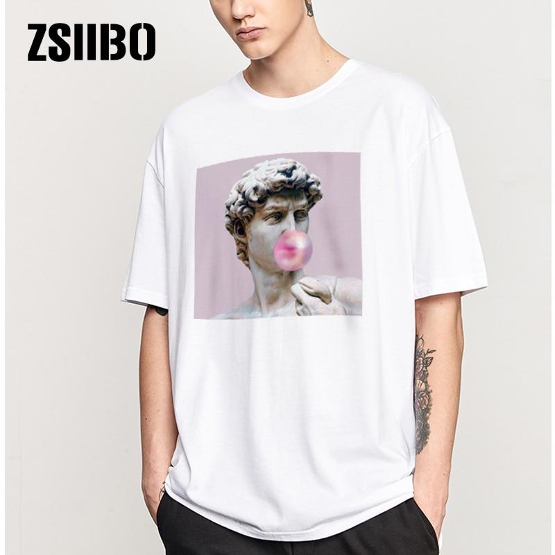ZSIIBO David Michelangelo summer men's t shirt statue bubble gum candy taste Personality Creative Novelty T-shirt men top tees