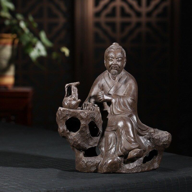 Do herbaty Yixing Zisha zwierzęta domowe są fioletowy piasek herbata grać Lu Yu charakter fioletowy gliniana rzeźba ozdoby ręcznie robione boutique akcesoria do herbaty